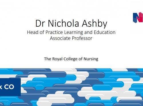 "Images shows the first slide of a powerpoint presentation ""Dr Nichola Ashby...."""